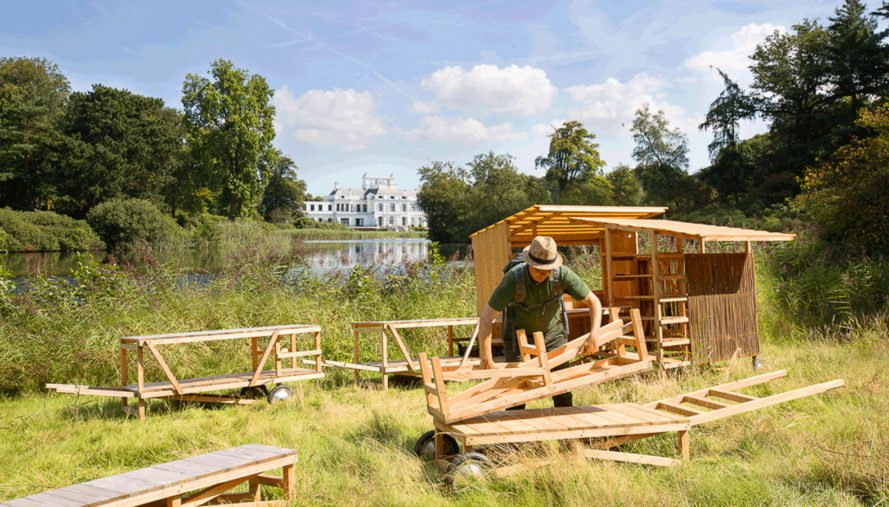 The Weedgrocer, Overtreders W, mobile structure, fieldwork station, weeds, the Netherlands, urban vegetation, green design, transforming furniture, douglas fir, cabinets, field kitchen