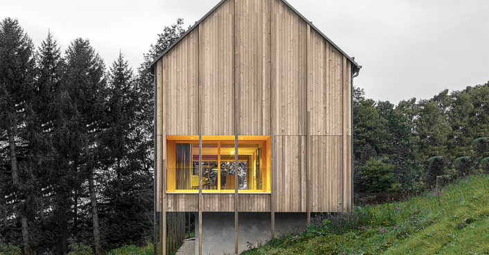 Serene timber cabin in Austrian countryside floats lightly on the