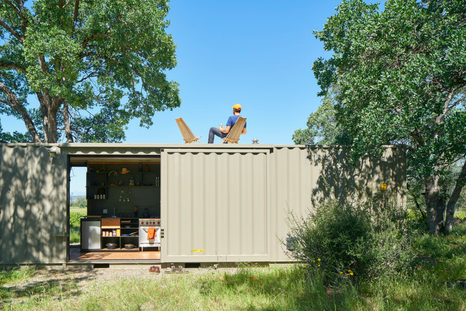 Off Grid Shipping Container Cabin Has A