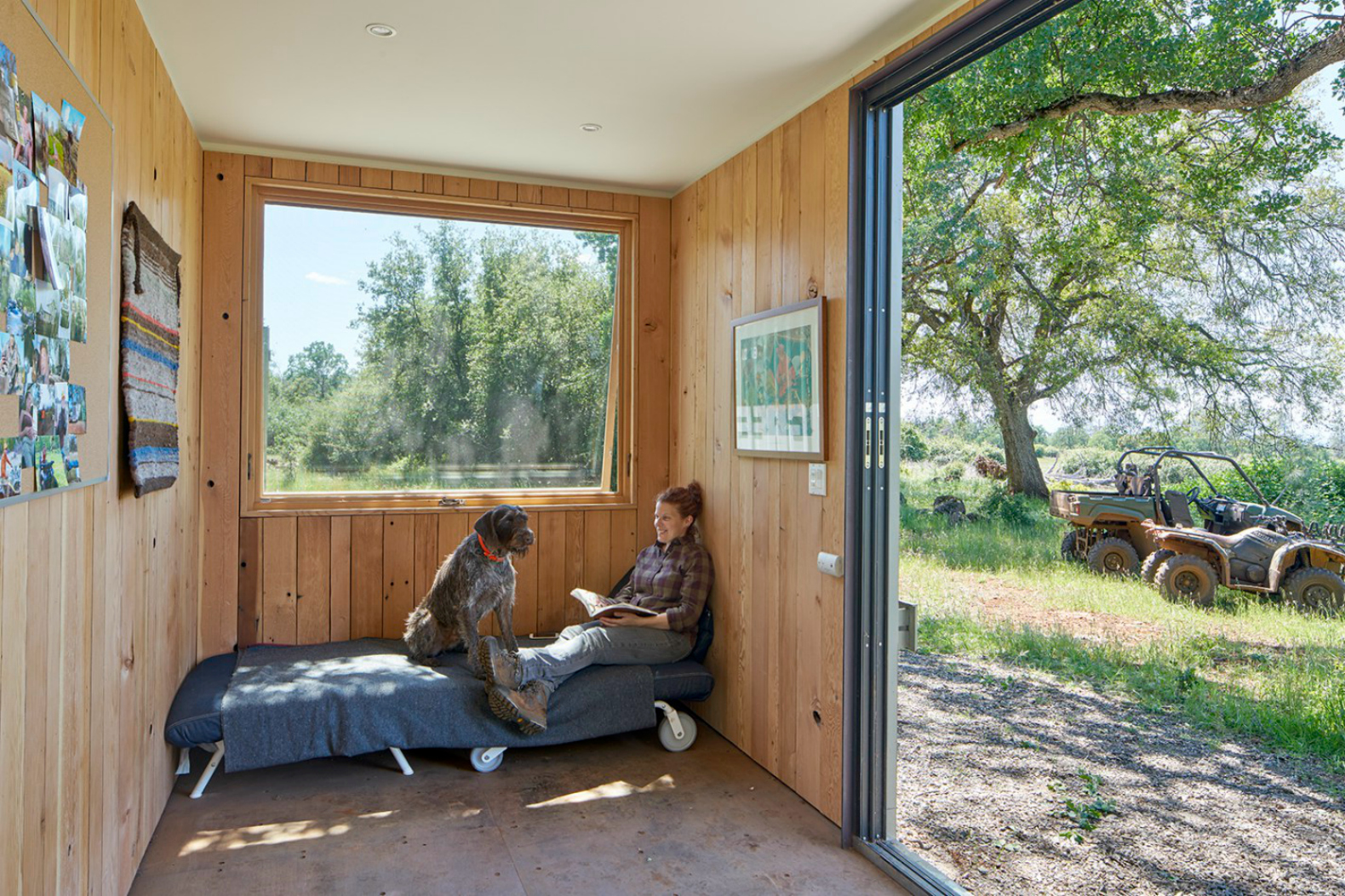 offgrid shipping container cabin has a warm wooden interior  - yamamar design container cabin shipping container architecture shippingcontainer home green design