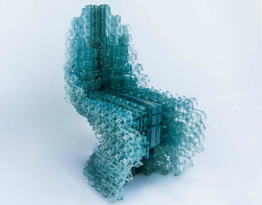 Manuel Jimenez Garcia, Gilles Retsin, Robotically 3D Printed Chair, Voxel Chair 1.0, Nagami printing, PLA plastic, 3d printed furniture, green furniture, plastic pla, PLA plastic furniture, 3d technology, 3d interior design, RAMP technology, large-scale 3d printing, 3d printed design,