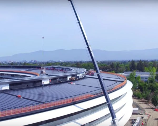 Apple Park footage, Apple Park by Duncan Sinfield video, Apple Park by Foster + Partners, solar powered Apple Park, energy efficient Apple campus, naturally ventilated apple campus building