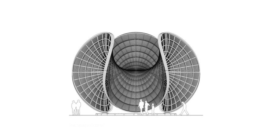 Camboo Bamboo Landmark Design Challenge, Camboo in Cambodia, Camboo design by Luca Poian Forms, Enneper minimal surface in architecture, gridshell pavilion sustainable design, bamboo gridshell architecture