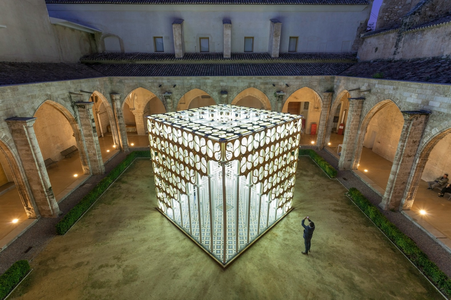Glowing cardboard pavilion pops up in a Gothic courtyard in Valencia