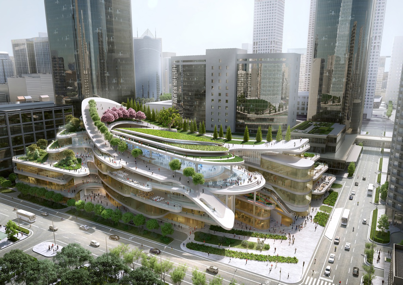 Giant ski slope to top green-roofed civic center in Beijing