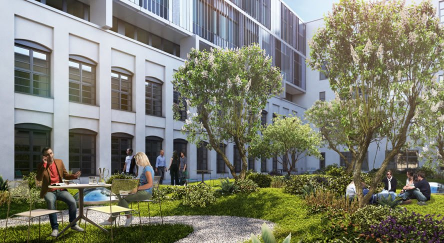 Die Macherei, Hollwich Kushner, msm meyer schmitz-morkramer, OSA Ochs Schmidhuber Architekten, Munich, Art-Invest Real Estate , Accumulata Immobilien, Germany, green office building, public plaza, outdoor terraces, green architecture