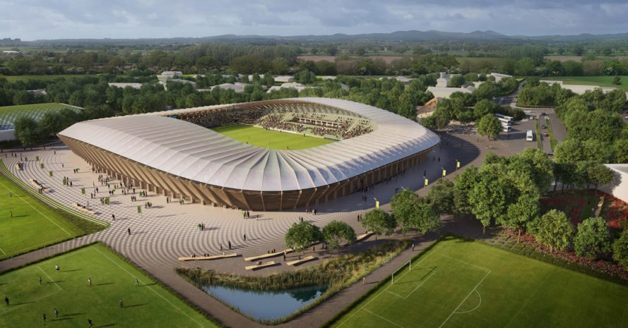 Zaha Hadid Architects, Eco Park, Green Technology Hub, slatted timber, footbridge, England, Ecotricity, green architecture, timber stadium, timber structure, carbon neutral architecture