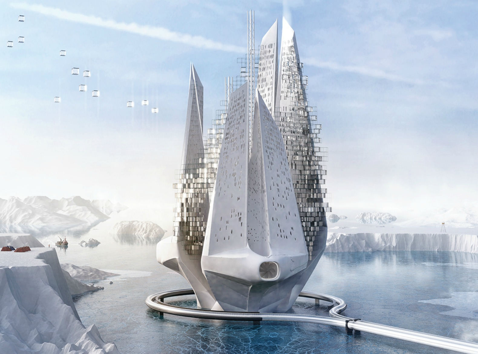Futuristic floating skyscraper 'heals' the effects of climate change