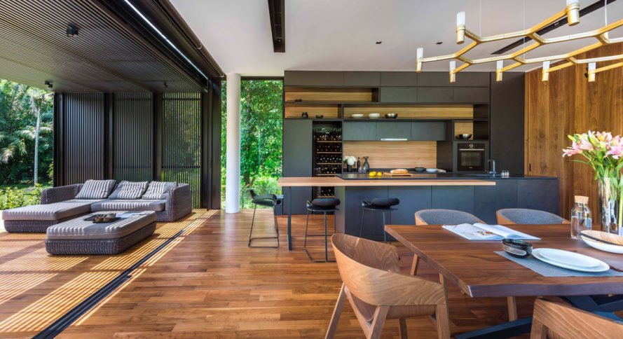 House 24, Park + Associates Pte Ltd, courtyard, Singapore, timber screens, natural light, timber craftsmanship, screens, green architecture, swimming pool, tropical climate, glass facade
