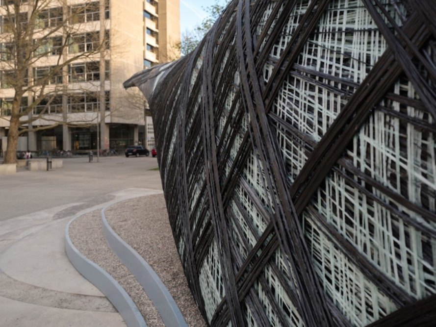 ICD ITKE Research Pavilion 2016 17 by University of Stuttgart, biomimetic architecture, robotically constructed architecture, digital fabrication architecture, drones building architecture, carbon fiber woven pavilion, carbon fiber pavilion, carbon fiber composite architecture