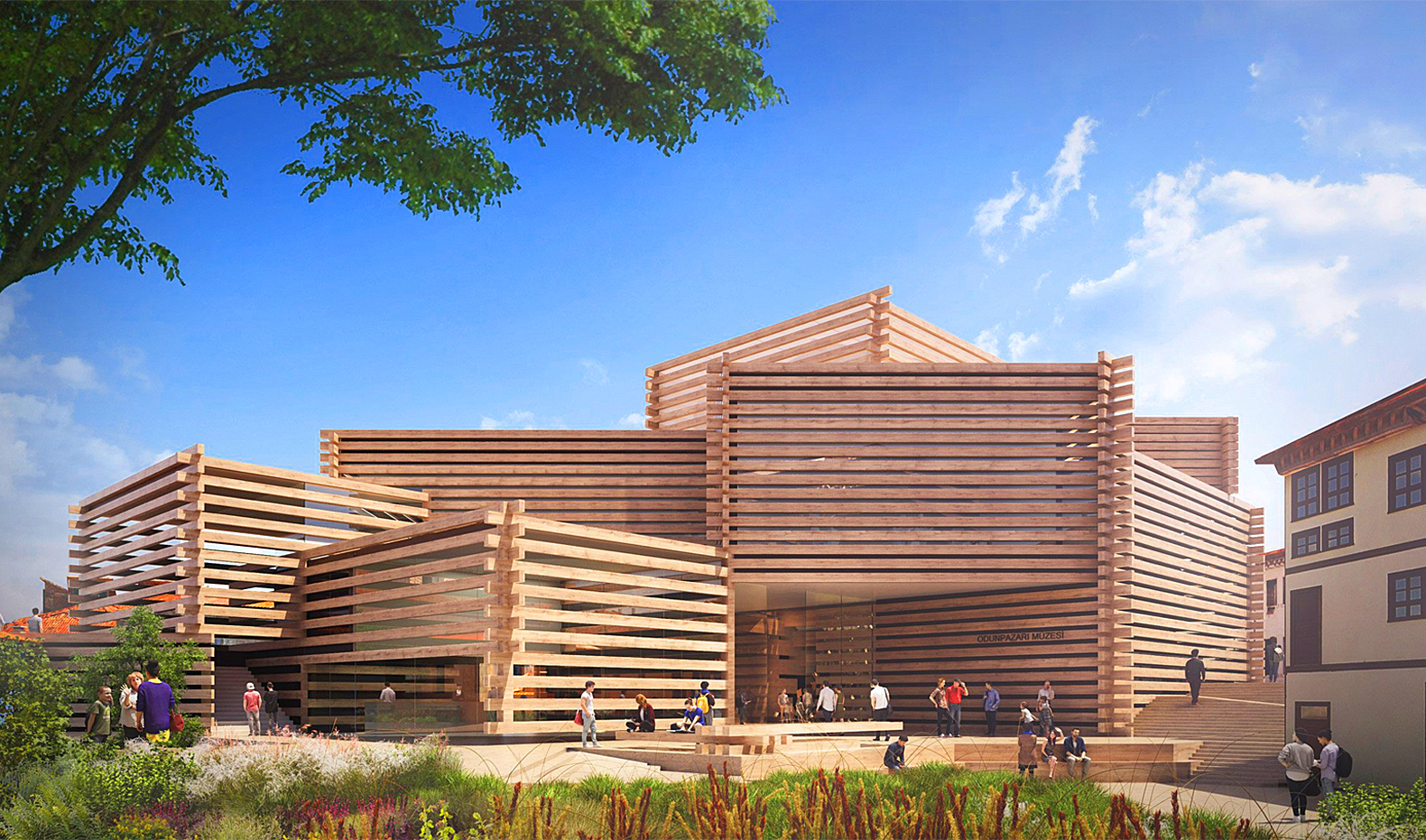 Kengo Kuma's Turkish art museum is made of stacked timber boxes