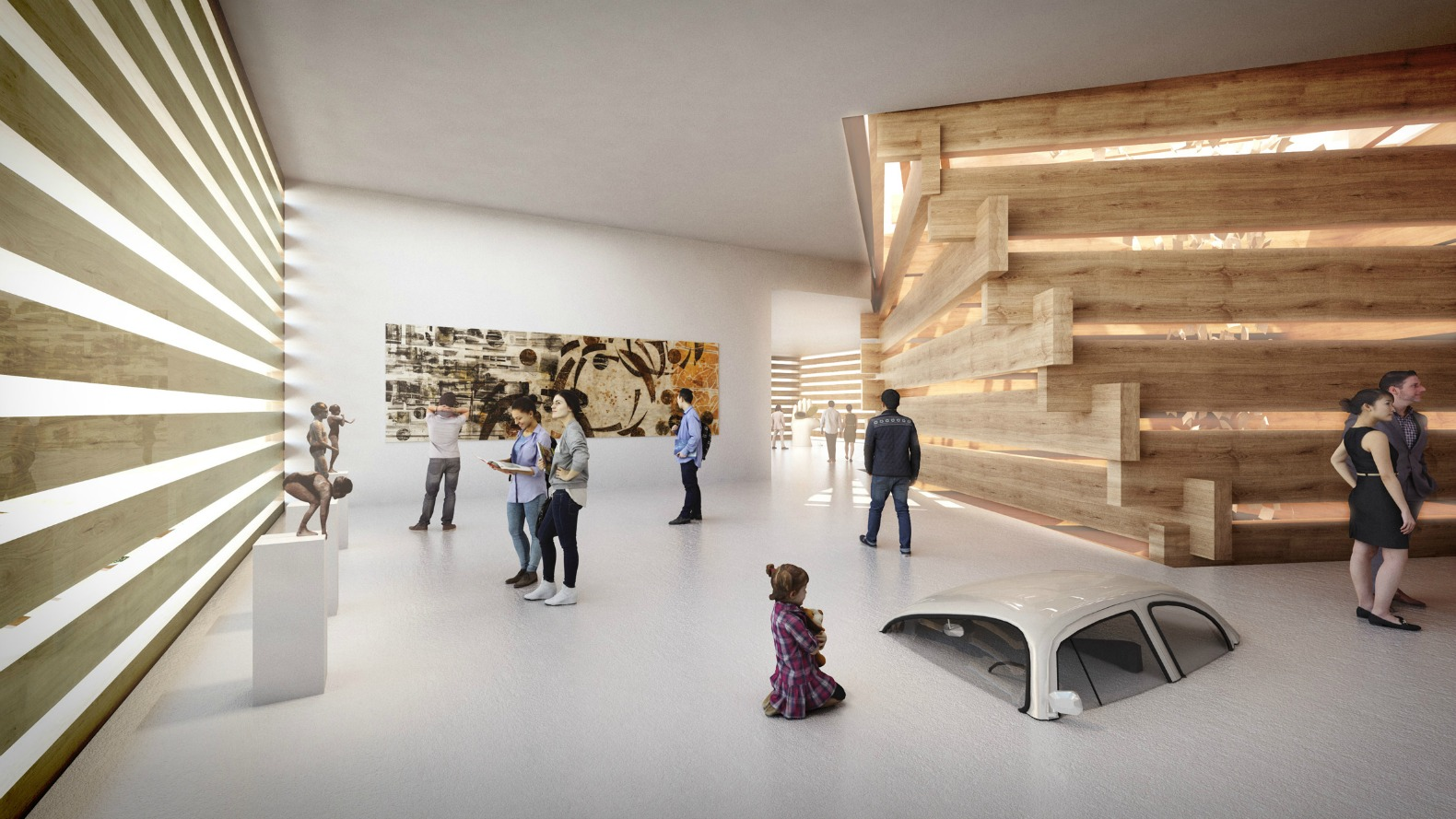 Kengo kuma 39 s turkish art museum is made of stacked timber Art gallery interior design