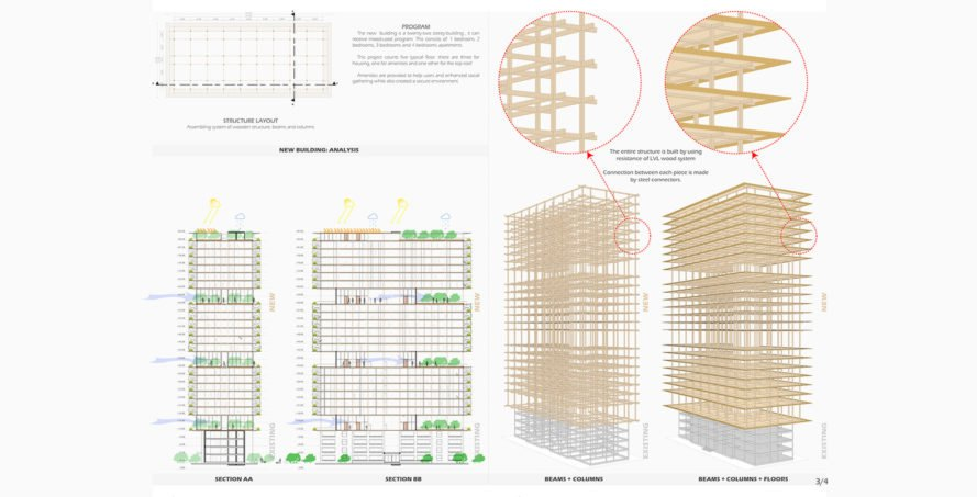 wooden tower, Hermann Kamte & Associates, Lagos, Plan B: City Above the City competition, green tower, natural ventilation, green architecture, sky garden, green roof, rooftop garden, panoramic views