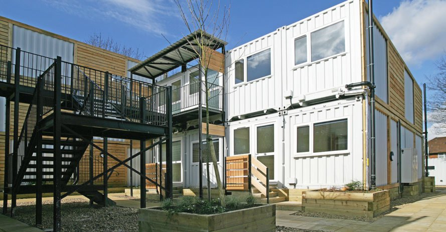 Marston Court, emergency housing, temporary housing, London, affordable housing, shipping containers, brownfield site, CargoTek, ISO Spaces, green architecture, temporary architecture, modular architecture