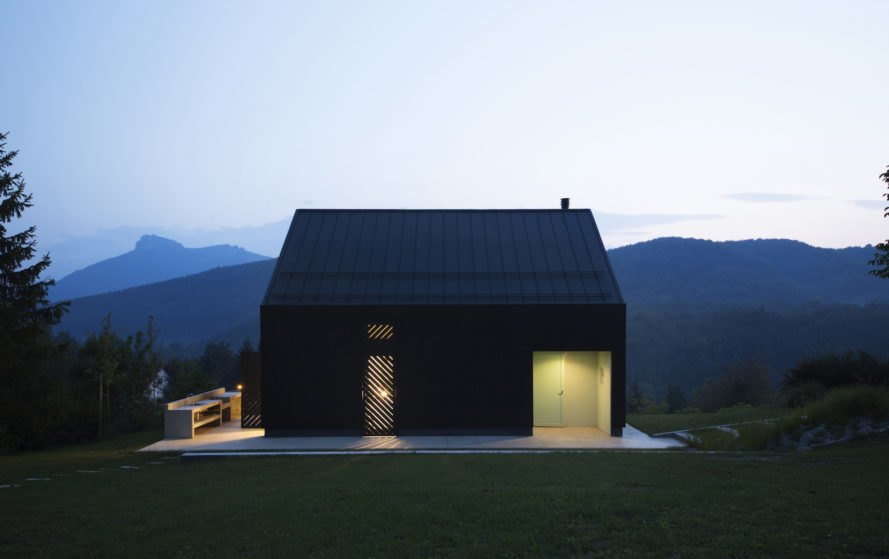 Mountain cabin by Tomislav Soldo, Tomislav Soldo cabin, Croatia contemporary cabin, black tar Siberian larch, aerated concrete cabin, aerated concrete wall construction, Ogulin modern cabin