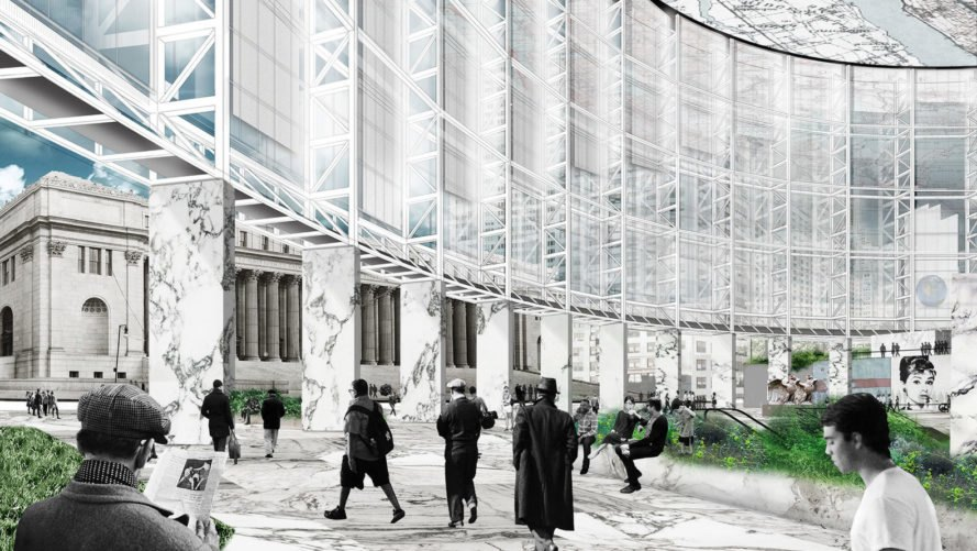 Practice for Architecture and Urbanism (PAU), Pennsylvania Station, transport hub, New York City, glass facade, solar gain, passive heating and cooling, natural light, green architecture