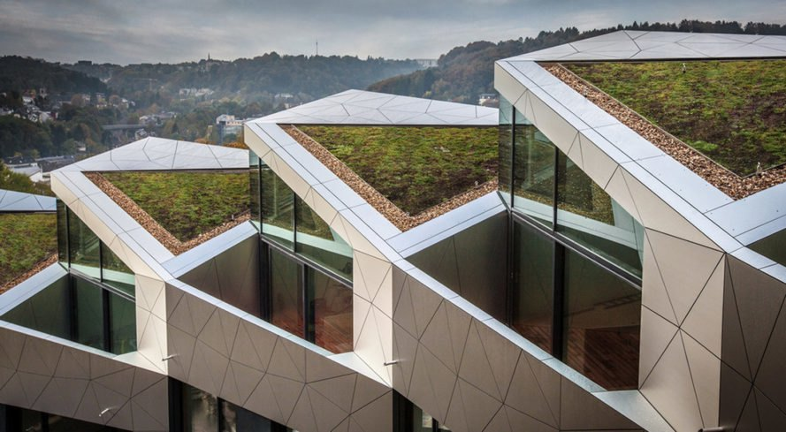 Residential Building with 15 Units, Metaform, multi-family, green housing, Luxembourg, solar power, solar panels, aluminium facade, green architecture, low-energy performance, privacy, panoramic views, natural light