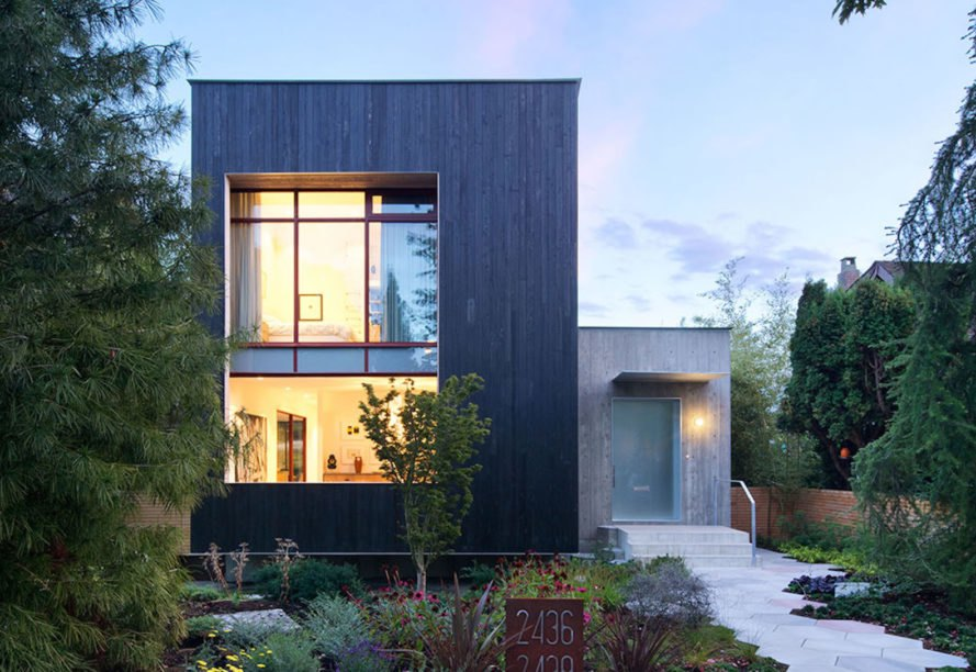 Rough House by Measured Architects, Rough House in Vancouver, laneway house architecture, green roof and vertical garden in a home, carbonized cypress facade,