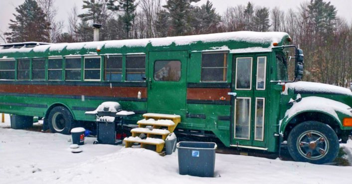 School Bus Retrofitted Into Solar Powered Tiny Home Can Be