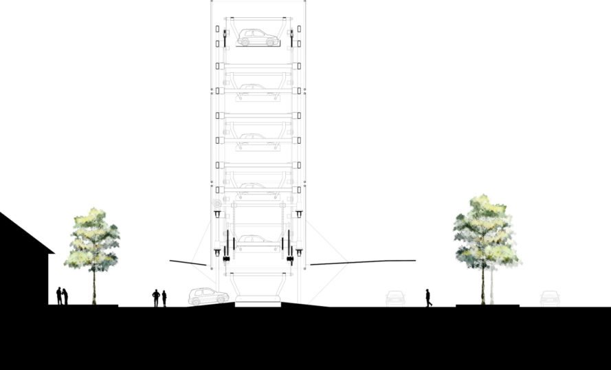 Ennead Lab car changing station, Ennead Architects, electric car charging tower, Shanghai charging tower, roadside architecture, stack-parking technologies, electric cars, urban design, urban charging stations, charging towers shanghai