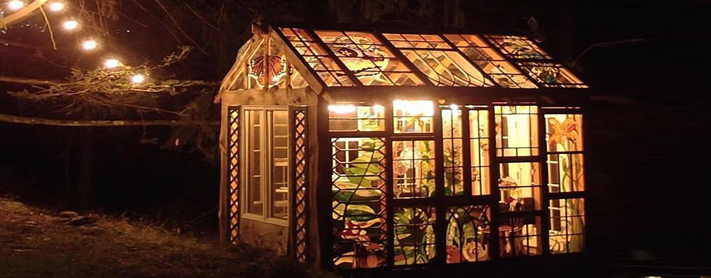 Artist Builds Incredible Stained Glass Cabin In The Middle