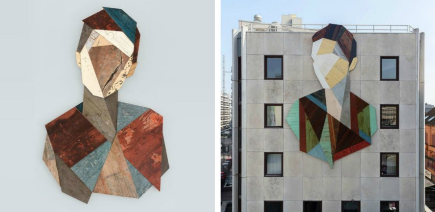 Strook, Strook Wood Portraits, street art, urban art, reclaimed wood art, reclaimed wood diy, reclaimed wood street art, geometric portraits, wooden portraits, geometric street art, portraits, sculpture, street art, wooden art,