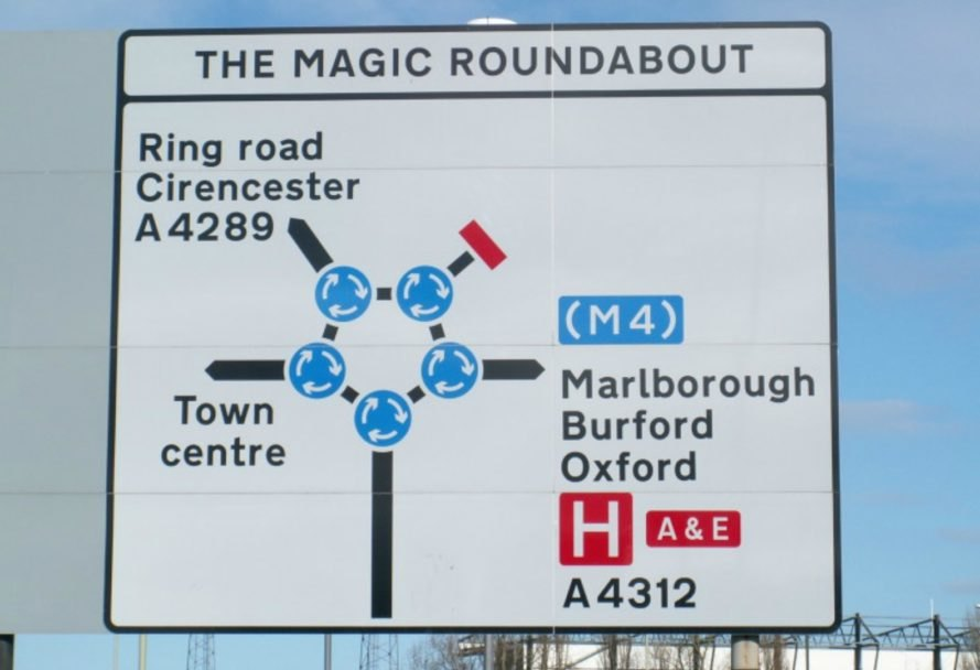 Magic Roundabout, complicated roundabouts, roundabout rules, driving roudabouts, Swindon, England, english roundabouts, Swindon Magic Roundabouts, Magic Roundabout swindon, complicated traffic routes, urban design, dangerous intersections, transportation