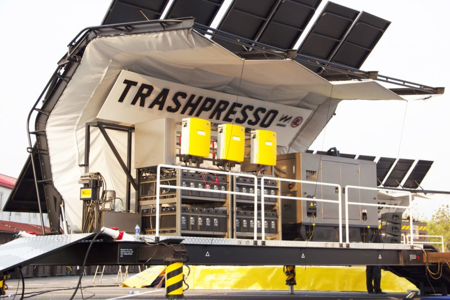 TRASHPRESSO, TRASHPRESSO by Miniwiz, Miniwiz, recycle, recycled, recycling, recycling plant, recycled materials, plastic, fabric, waste, garbage, trash, architectural tiles, architectural tile, tiles, tile, plant, mobile recycling plant, mobile, off-grid recycling plant, off-grid, solar, solar power, solar energy, solar panels, waste disposal