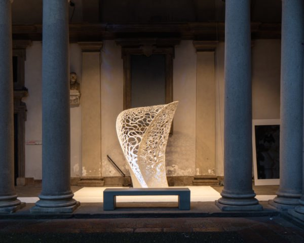 Thallus by Zaha Hadid Architects, White in the City at Milan, White in the City Brera, White in the City Zaha Hadid Architects, Zaha Hadid at Milan Design Week, robot assisted architecture