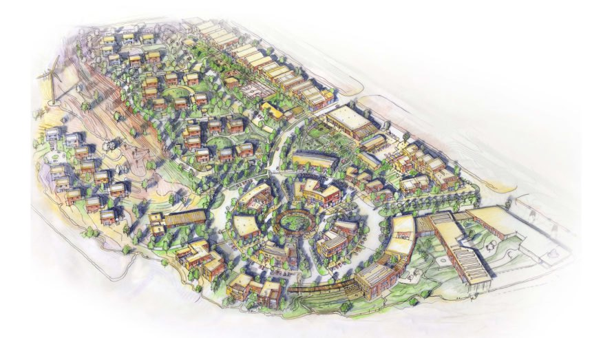 Thunder Valley Regenerative Community Master Plan, Thunder Valley Community Development Corporation (CDC), BNIM, Pyatt Studio, KLJ Engineering, Studio NYL, green masterplan, Indian Reservation, South Dakota, rainwater harvesting, solar power, wind power, geothermal energy, community gathering space