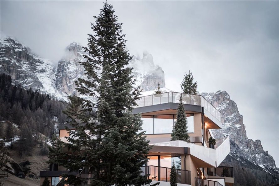 Tofana Hotel by NOA, Tofana Hotel architecture, Tofana Hotel in the Dolomites, Dolomite contemporary architecture, Badia Valley, hotel with natural materials, mountain-inspired architecture