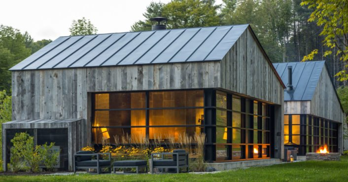 Salvaged wood clads handsome mountain cabin in Vermont