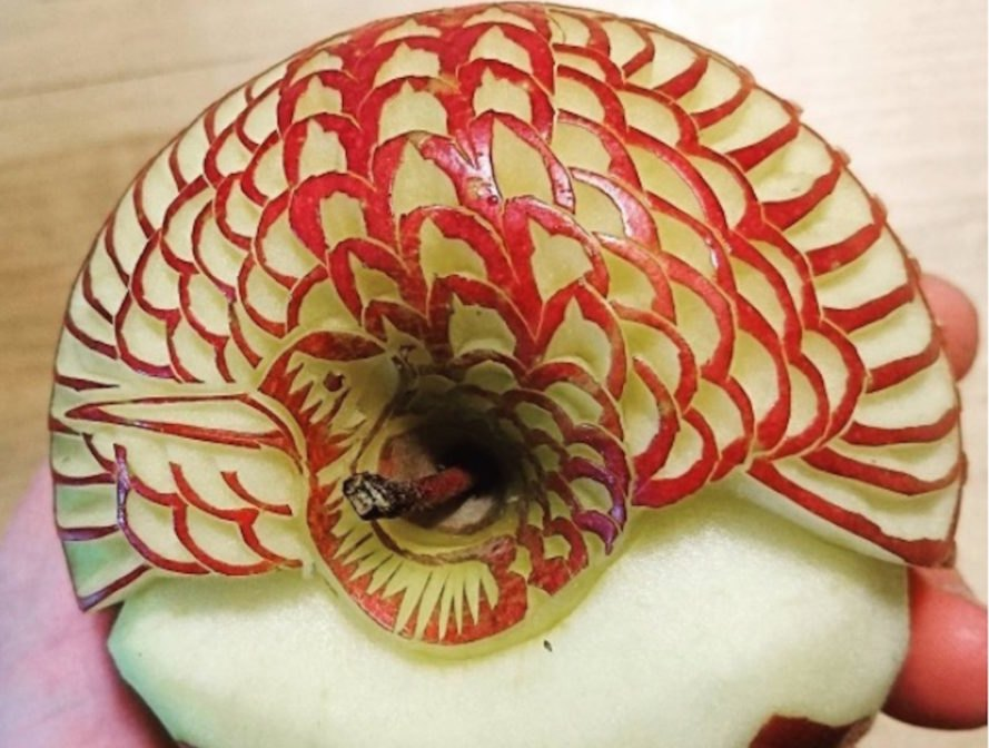 Gaku, apple art, food art, food artist