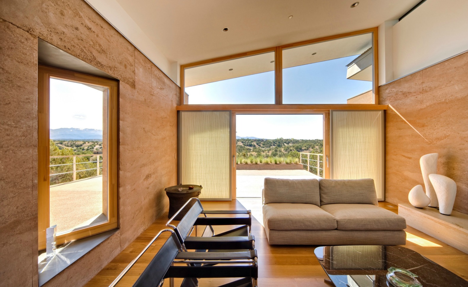 Striking Rammed Earth Home Blends Into The Hills Of Santa Fe