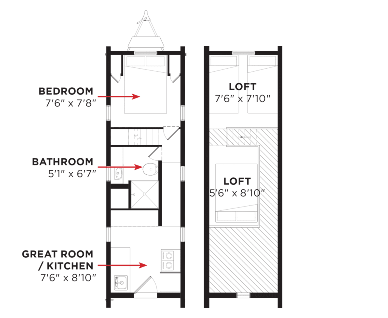 Tumbleweed Tiny House Floor Plans: This Tiny Farm House On Wheels Starts At 63K Downstairs