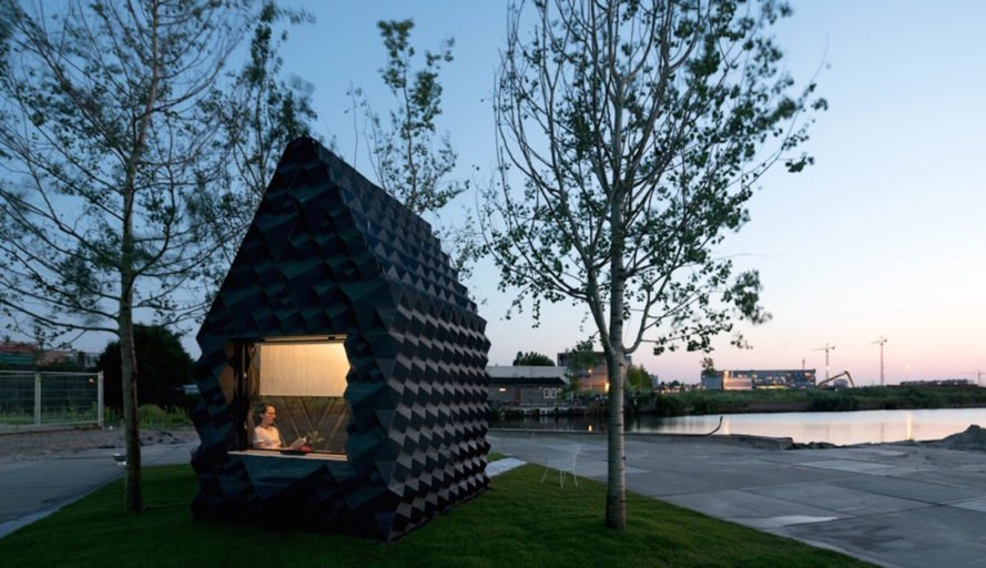 3-D printed cabin, bioplastic, sustainable design, micro design