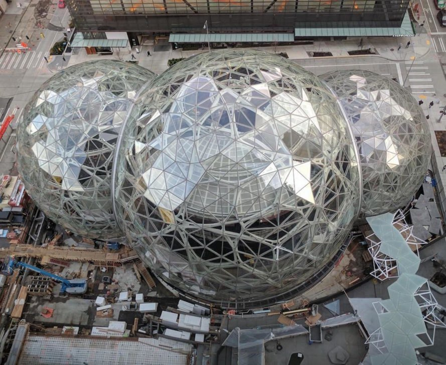 Amazon biospheres by NBBJ, Amazon first planting spheres, Amazon Seattle spheres, Amazon biospheres, Amazon sphere greenhouses, Amazon tech campus Seattle, nature-filled campus