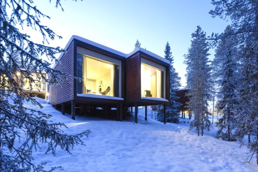 Arctic TreeHouse Hotel by Studio Puisto, Arctic TreeHouse Hotel Finland, Arctic TreeHouse Hotel Northern Lights, northern lights hotel finland, lapland ecofriendly hotel, ecofriendly Finland hotel, prefabricated hotels,