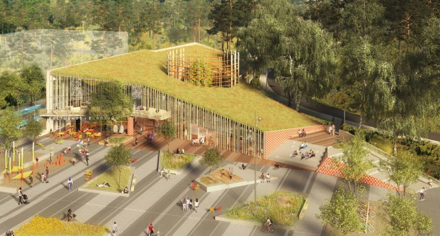 Bergsjön kulturhus, Sweco Architects, green roof, cultural center, Sweden,  Gothenburg, green architecture, glass facade, atrium, public spaces, public square