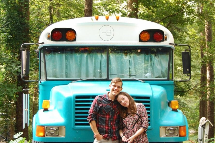 Julie and Andrew Puckett, House Bus, Georgia bus living, blue bird school bus, bus makeover, bus conversion, Skoolies, remodelation of buses, school bus conversion, tiny homes, architecture, traveling homes, mobile guest homes, homes on wheels, bus design, Tiny House Jamboree, tiny home living, mobile living, nomadic living,
