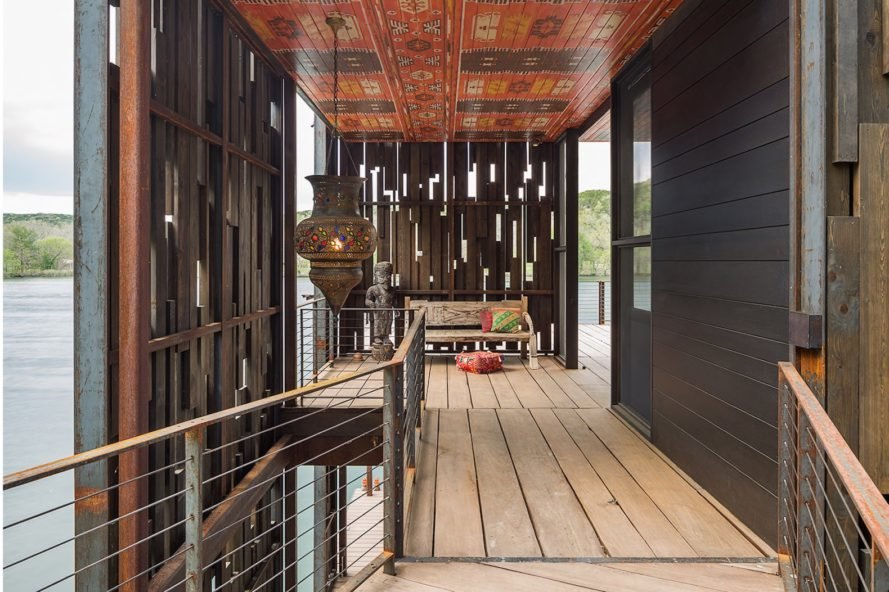 Bunny Run Boat Dock by Andersson-Wise Architects, Austin boat dock, Lake Austin boathouse, contemporary Austin boathouse, reclaimed materials in boathouse,