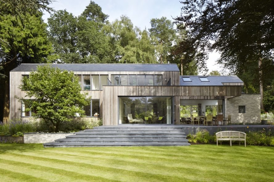 House in the Woods by alma-nac, House in the Woods in England, prefabricated housing, prefab contemporary home, SIPs architecture, SIP prefab home,