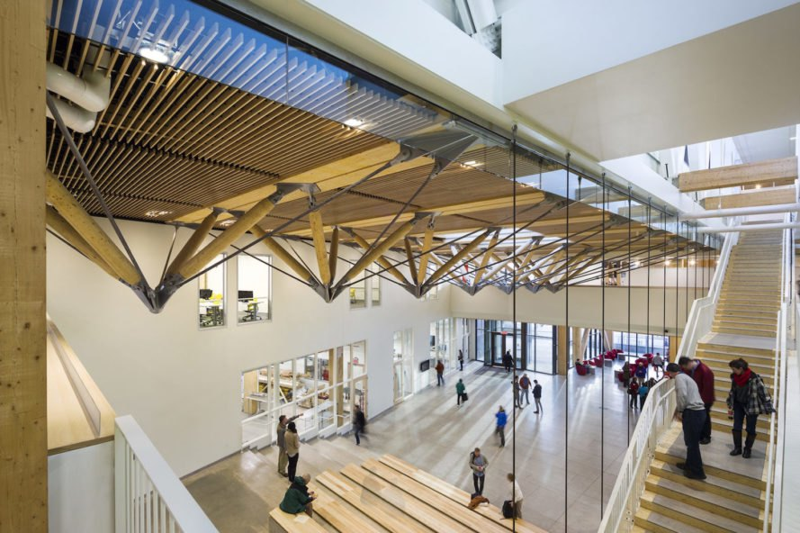 Design Building by Leers Weinzapfel Associates, Design Building UMass, CLT Design Building, largest CLT architecture, CLT architecture in the U.S., multidisciplinary design buildings, energy efficient buildings