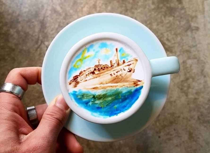 Kangbin Lee, Cafe C. Through, creamart, cremart, latte, lattes, latte art, coffee, coffee art, art, artwork, paint, painting, South Korea, Korea
