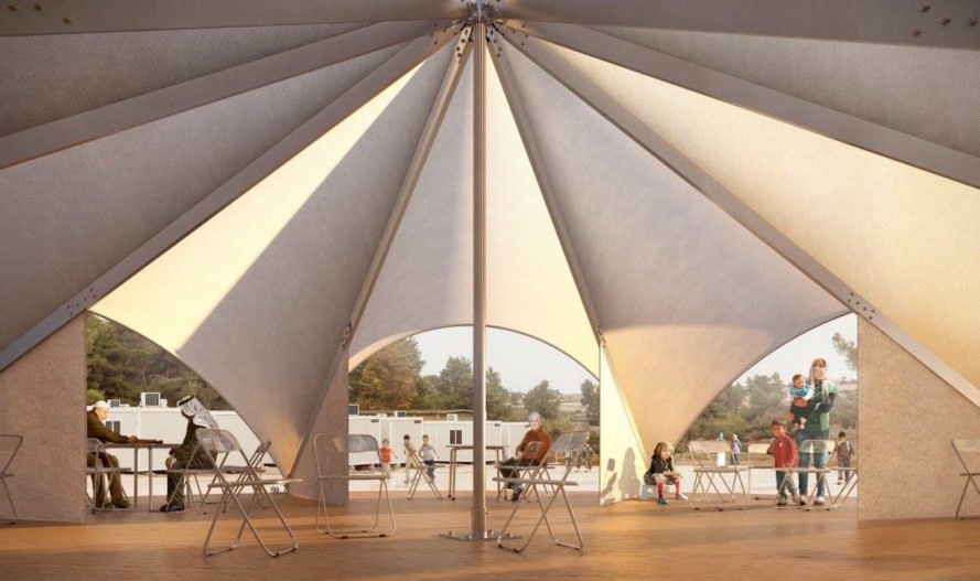 Maidan Tent, Maidan Tent design, Maidan Tent for refugees, refugee public space architecture, refugee multifunctional design, Ritsona refugee camp