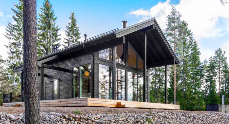 This modern log home in finland is heated by the earth for Log home architects