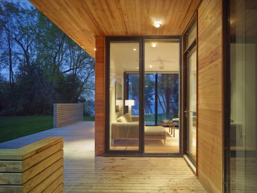 Pointe Cabin by Superkül architects, Pointe Cabin on Lake Simcoe, retreat within a retreat architecture, prefabricated cabin, factory built cabin, pre built cabin, prefabricated architecture, timber cabin in Ontario