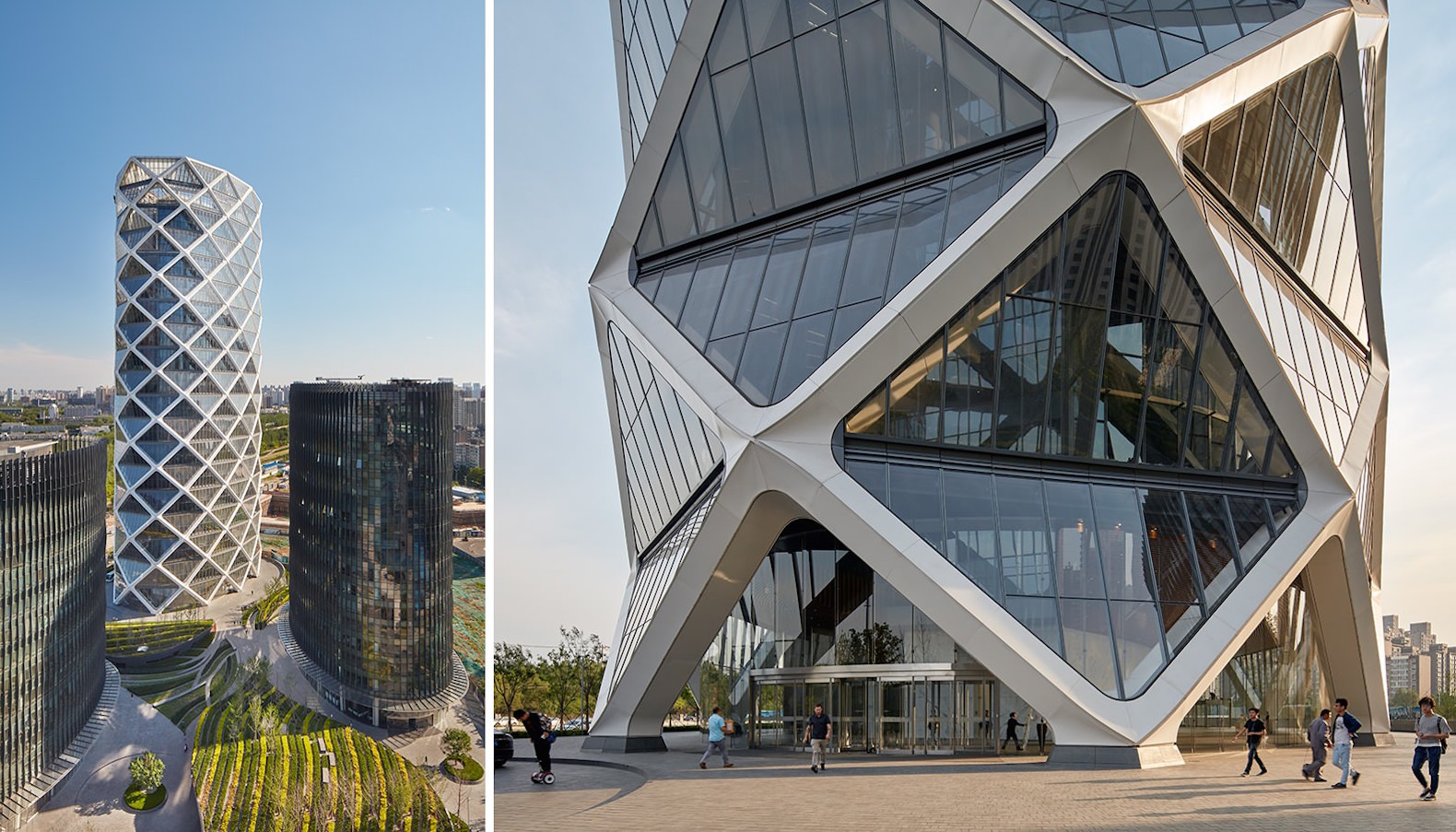SOM's diagrid glass tower rises like a Chinese paper lantern in Beijing
