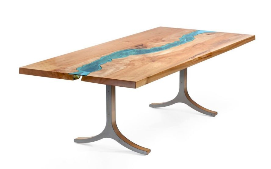 River Collection by Greg Klassen, Furniture by Greg Klassen, Greg Klassen contemporary design, river table, river glass table, lake glass table, reclaimed wood furniture