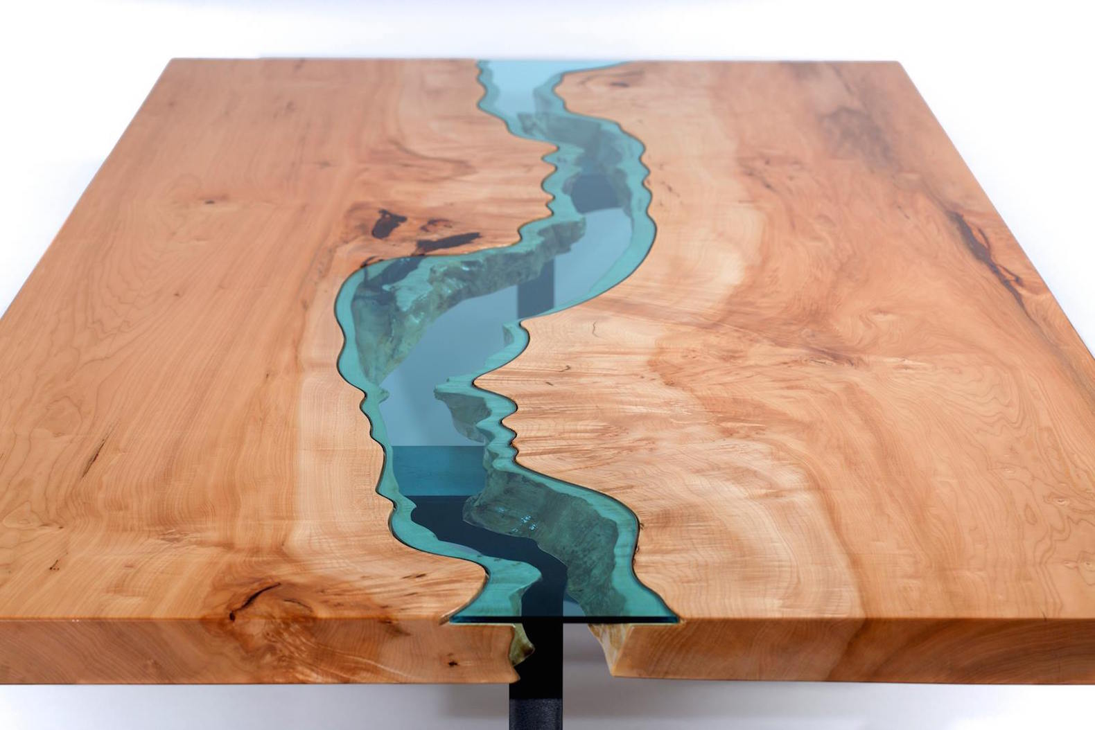 Coffee table inhabitat green design innovation architecture escape into the glass rivers and lakes of these beautiful wood tables geotapseo Images